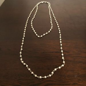 silver and pearl beaded long necklace